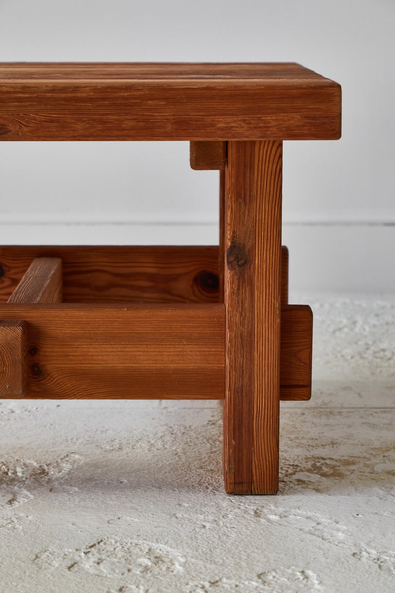 Chunky Pine Side Table For Sale 2