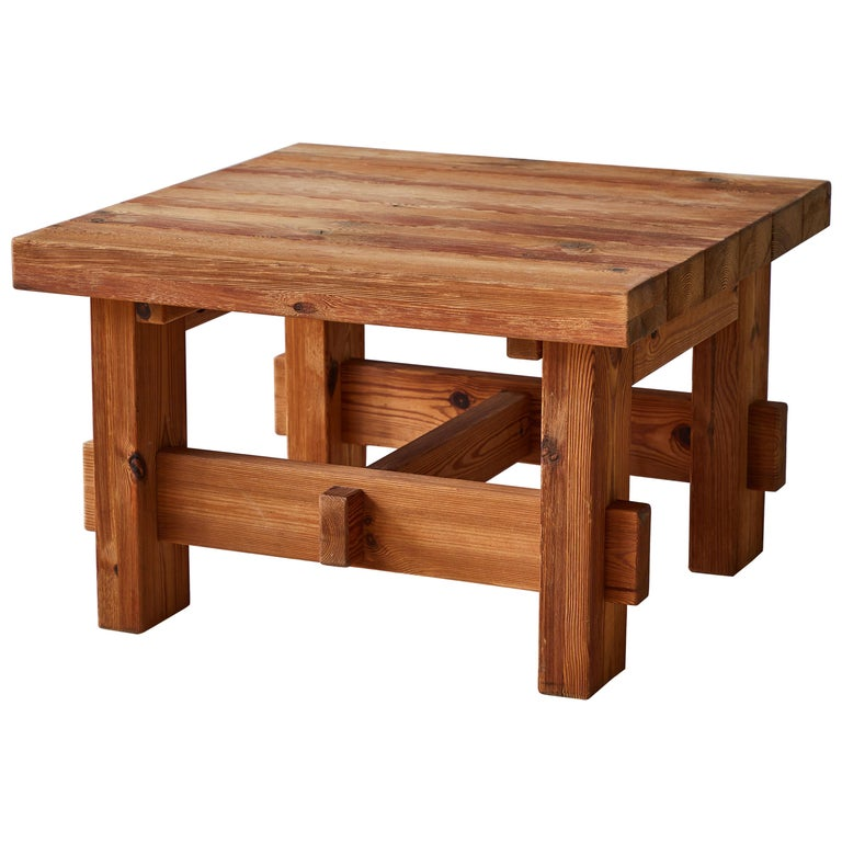 Chunky Pine Side Table For Sale