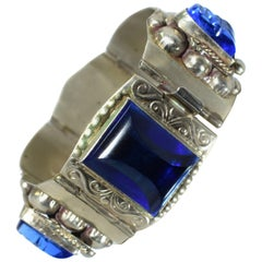 Chunky Sterling Silver and Blue Glass Ladies Bracelet by Taxco