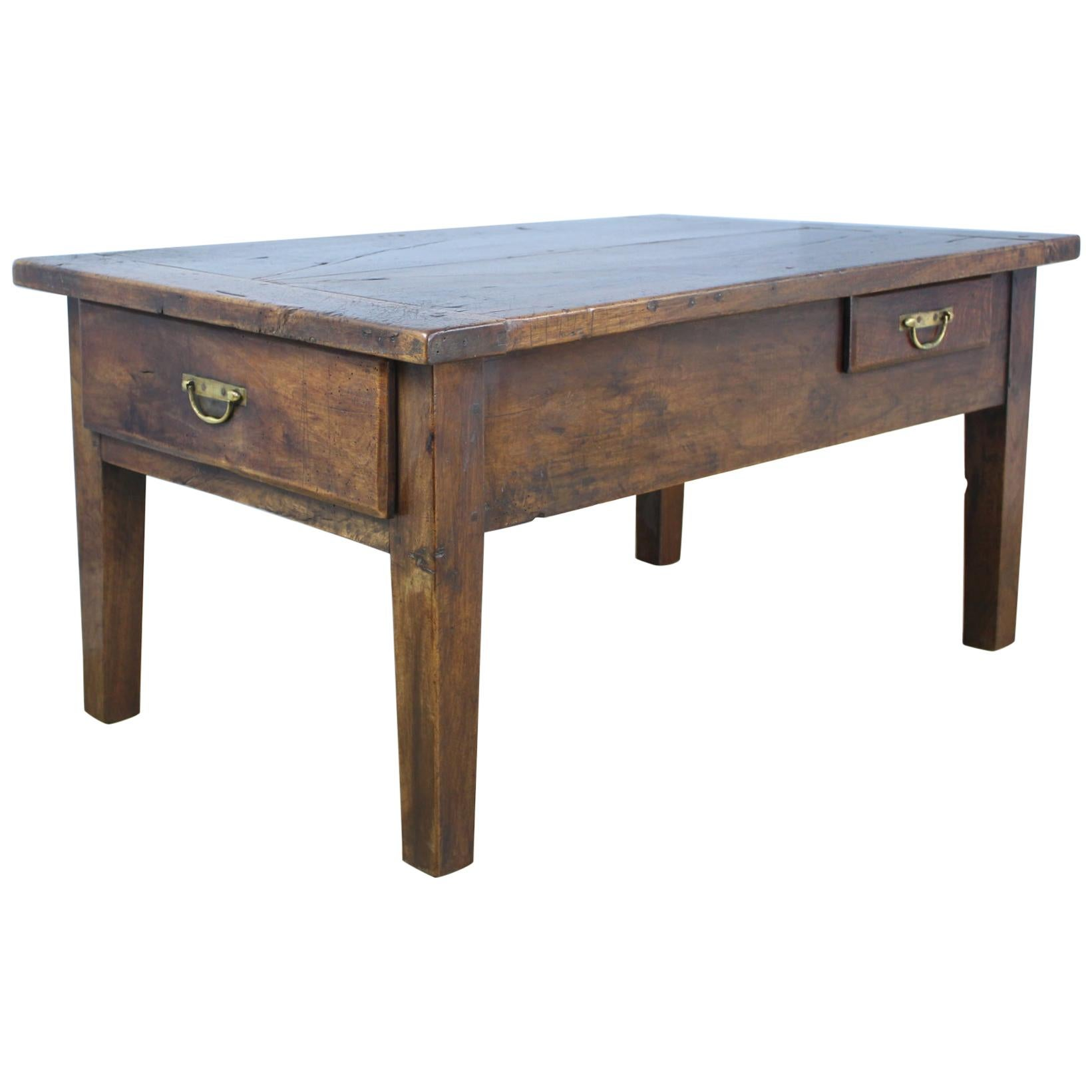 Chunky Two-Drawer Walnut Coffee Table with Cleated Top