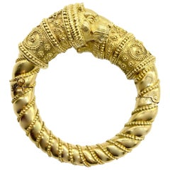 Chunky Yellow Gold Greek Chimera Statement Cuff Bracelet