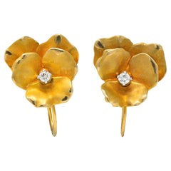 Church & Company Retro Diamond 14 Karat Gold Pansy Flower Earrings