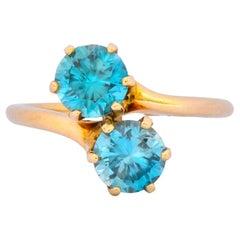 Church & Company Victorian 2.50 Carat Zircon 14 Karat Gold Toi Et Moi Ring