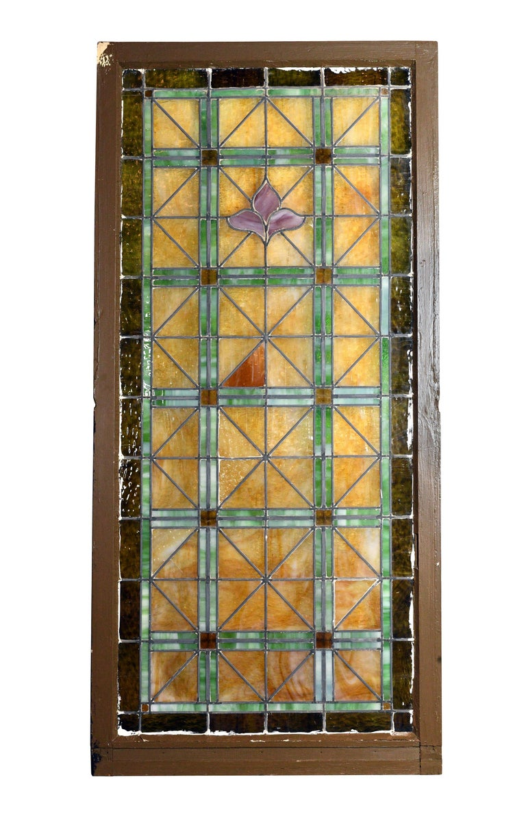 American Church Window with Fleur de Lis For Sale