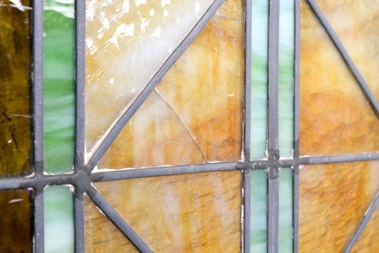 Glass Church Window with Fleur de Lis For Sale
