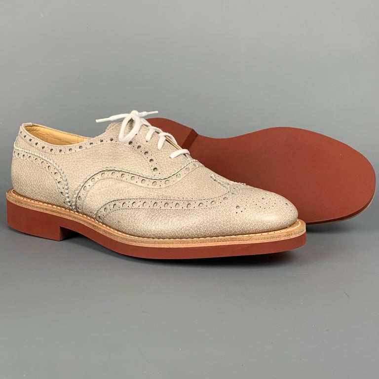 Beige CHURCHILL Downton Size 7.5 Taupe Perforated Pebble Grain Leather Lace Up Shoes For Sale