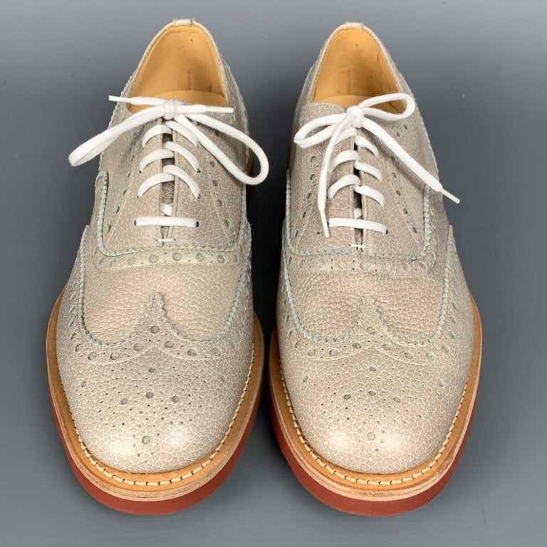 CHURCHILL Downton Size 7.5 Taupe Perforated Pebble Grain Leather Lace Up Shoes In Good Condition For Sale In San Francisco, CA