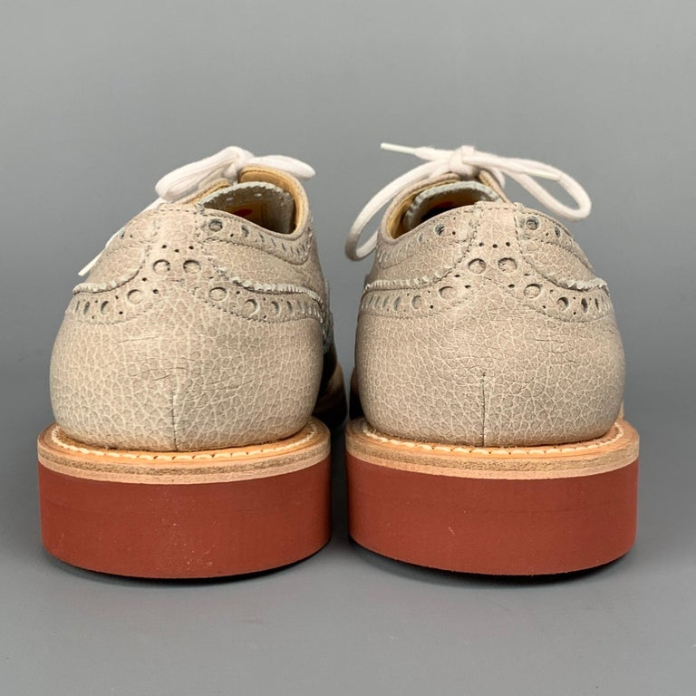Men's CHURCHILL Downton Size 7.5 Taupe Perforated Pebble Grain Leather Lace Up Shoes For Sale