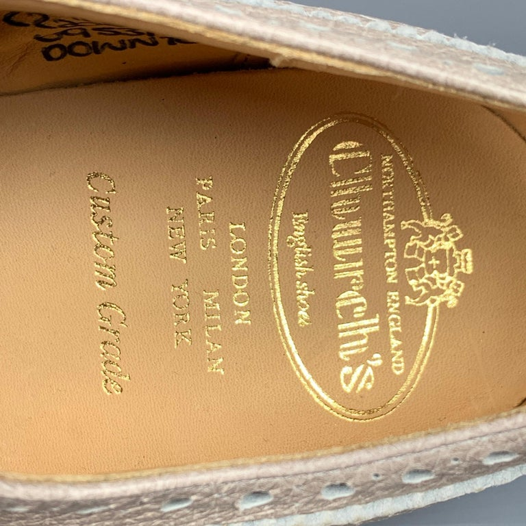 CHURCHILL Downton Size 7.5 Taupe Perforated Pebble Grain Leather Lace Up Shoes For Sale 2
