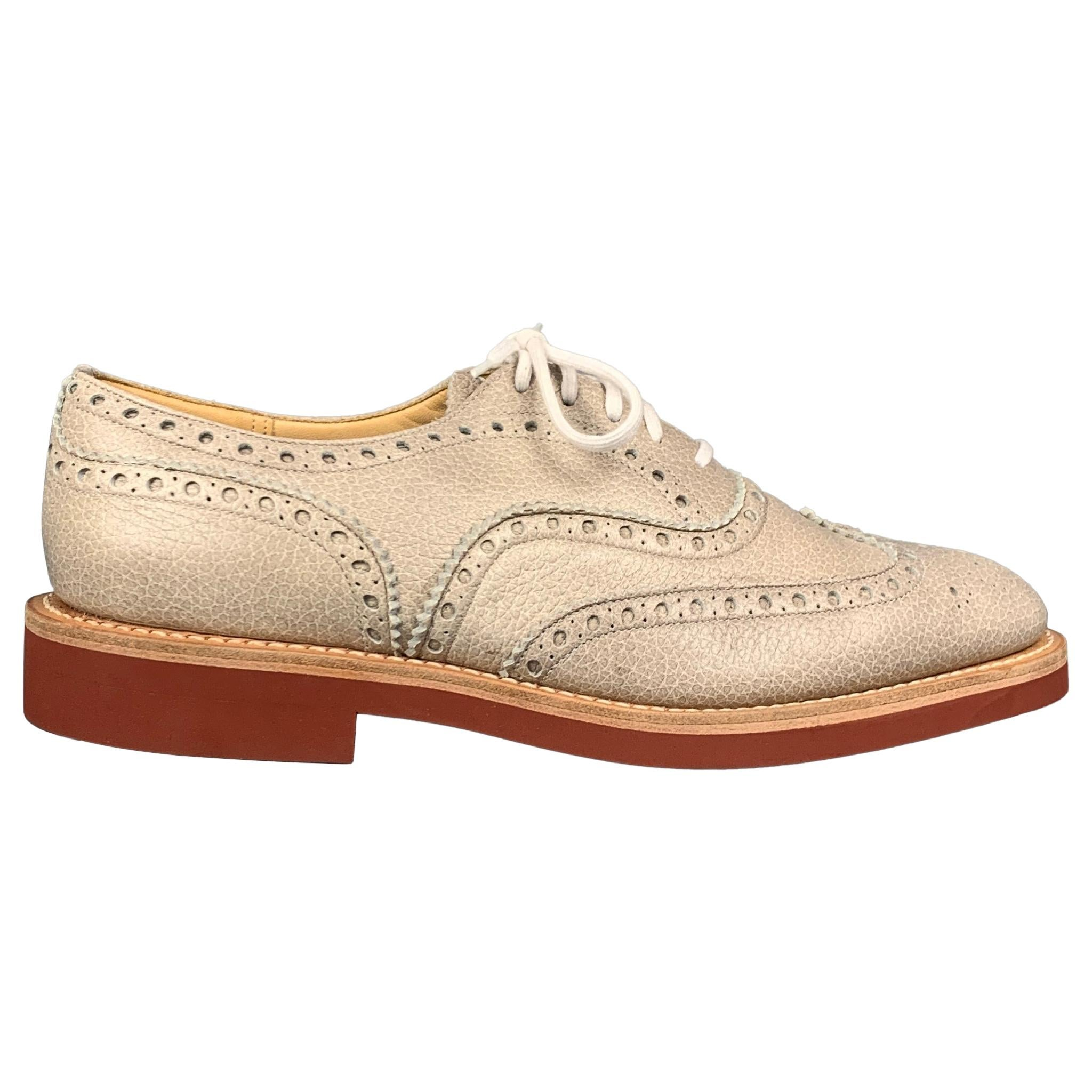 CHURCHILL Downton Size 7.5 Taupe Perforated Pebble Grain Leather Lace Up Shoes