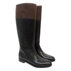 Church's 'Martina' Black and Brown Riding Boots Knee High - Size EU 38.5