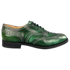 CHURCH'S Size 10.5 Studded Green Leather Wingtip Lace Up Shoe