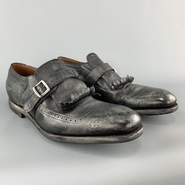 CHURCH'S Size 11 Black Distressed Leather Monk Strap SHANGHAI Eyelash Loafers In Excellent Condition For Sale In San Francisco, CA