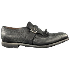 CHURCH'S Size 11 Black Distressed Leather Monk Strap SHANGHAI Eyelash Loafers