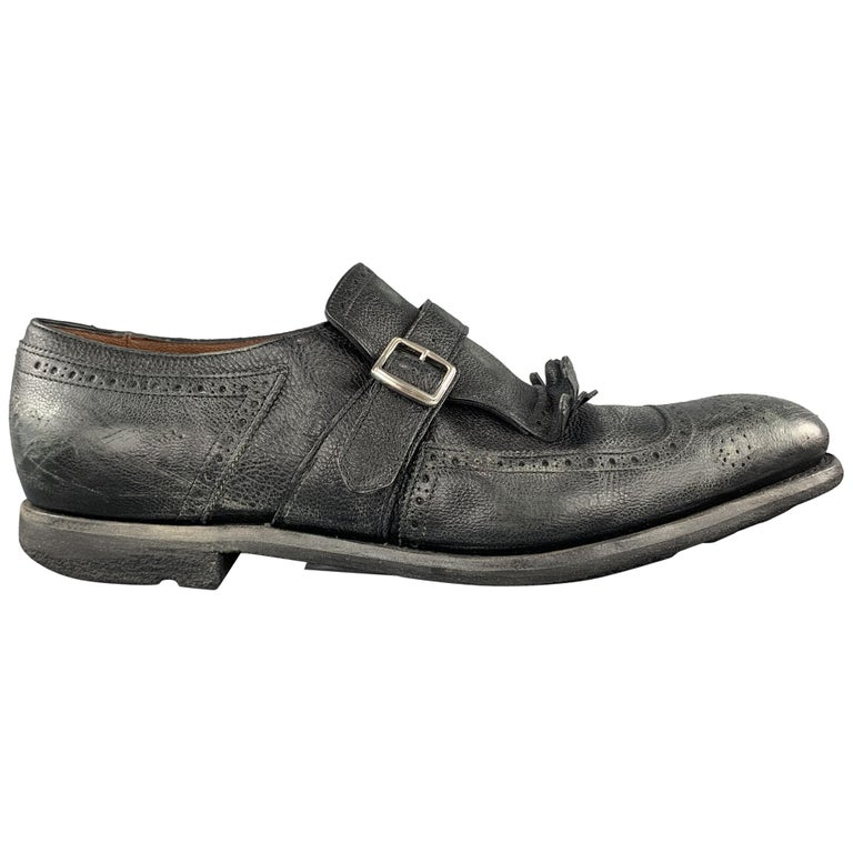 CHURCH'S Size 11 Black Distressed Leather Monk Strap SHANGHAI Eyelash Loafers For Sale