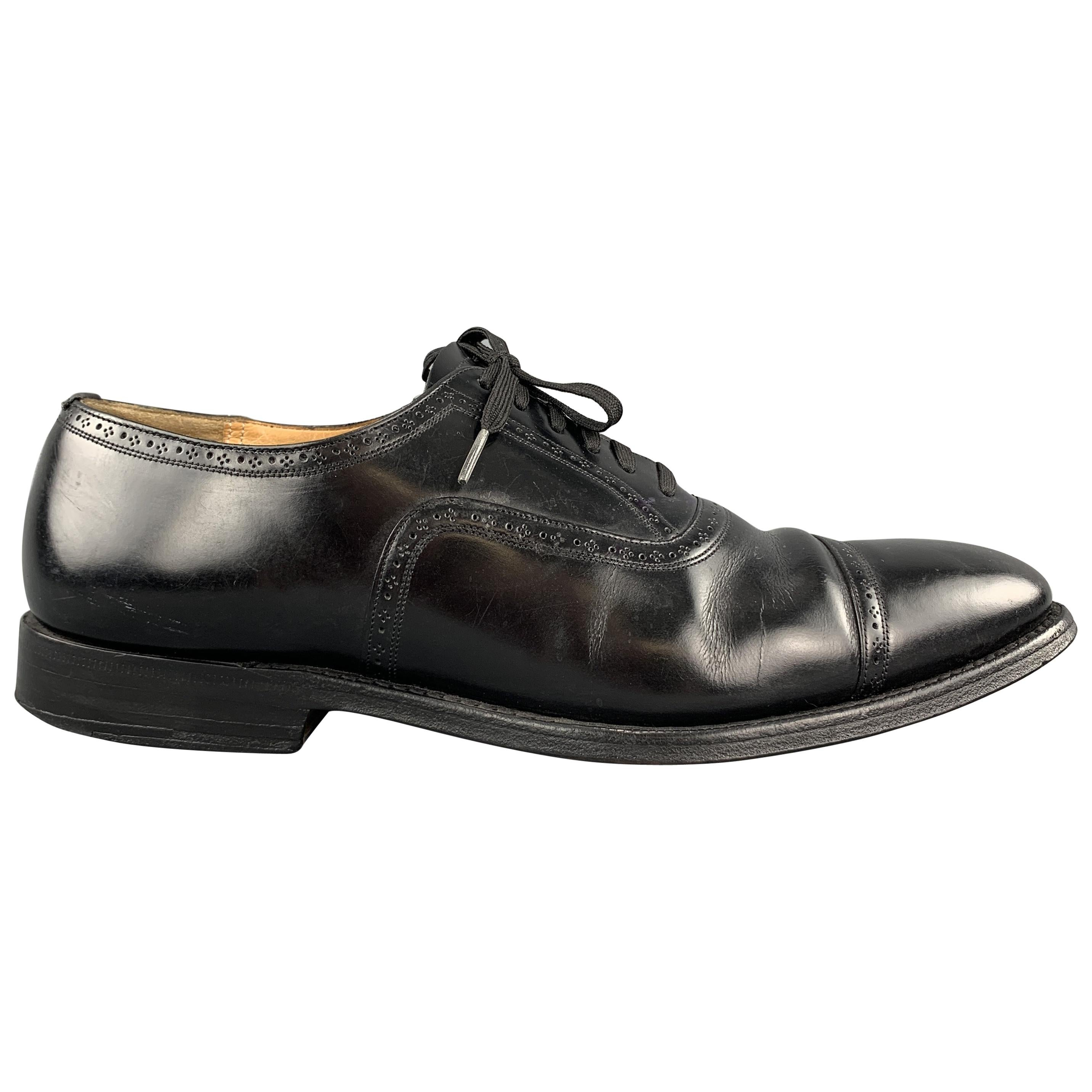 CHURCH'S Size 8.5 Black Perforated Leather Lace Up