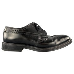 CHURCH'S Size 9 Black Leather Wingtip Brogue Lace Up