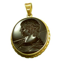 Chushev Antinous Intaglio Sterling Gold Pendant