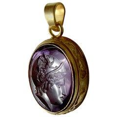 Chushev Athena Amethyst Intaglio Gold Pendant