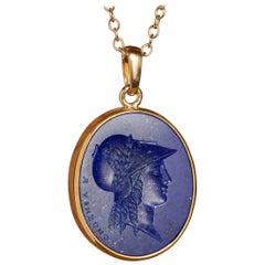 Chushev Athena Lapis Lazuli Intaglio Gold Pendant