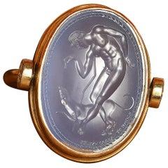 Chushev Blue Chalcedony Intaglio Gold Swivel Ring