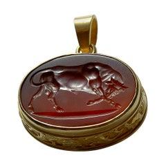 Chushev Bull Carnelian Intaglio Gold Pendant
