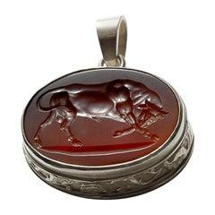 Chushev Bull Carnelian Intaglio Sterling Silver Pendant