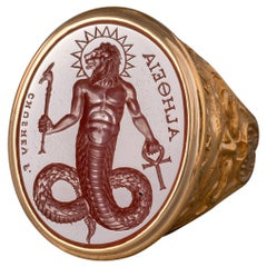 Chushev Chnoubis Carnelian Intaglio Gold Signet Ring