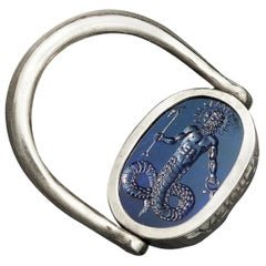 Chushev Chnoubis Scarab Corundum Intaglio Sterling Silver Swivel Ring