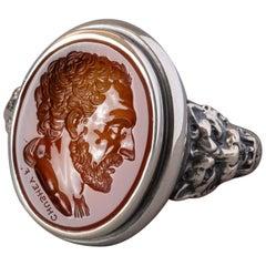 Chushev Demosthenes Carnelian Intaglio Sterling Silver Signet Ring