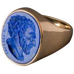 Chushev Demosthenes Lapis Lazuli Intaglio Gold Signet Ring