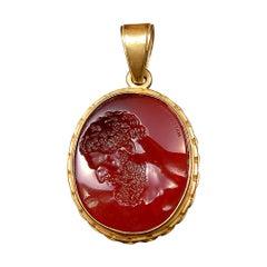 Chushev Farnese Hercules Glass Intaglio Gold Pendant