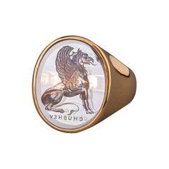Chushev Griffin Amethyst Intaglio Gold Signet Ring