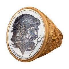 Chushev Hades Blue Sapphire Intaglio Gold Signet Ring