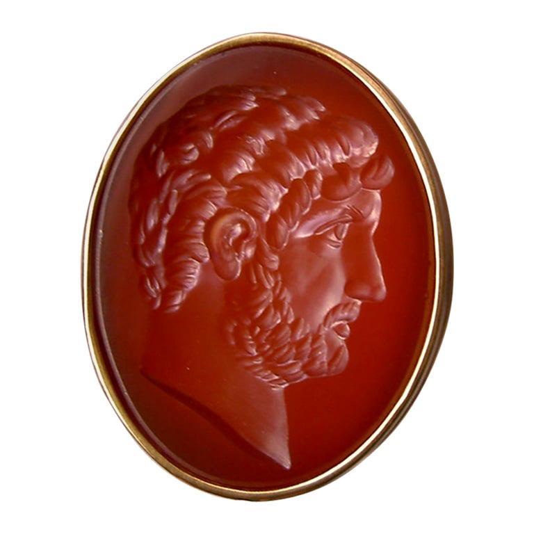 Chushev Hadrian Carnelian Intaglio Sterling Gold Signet Ring