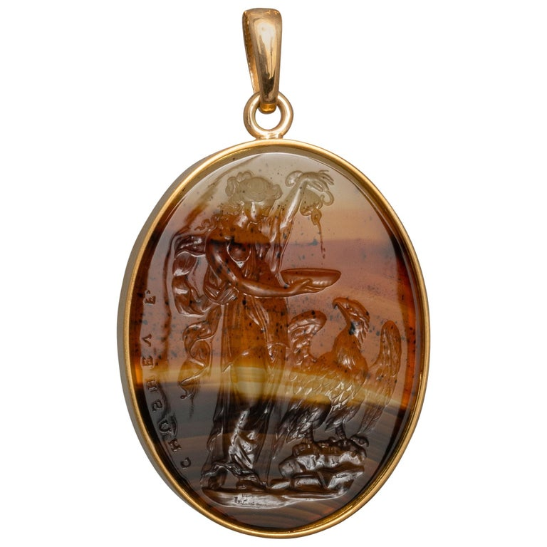 Chushev Montana agate intaglio depicting Hebe and Zeus set in a gold pendant, new