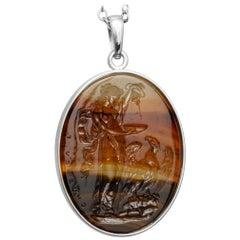 Chushev Hebe & Zeus Montana Agate Intaglio Sterling Silver Pendant