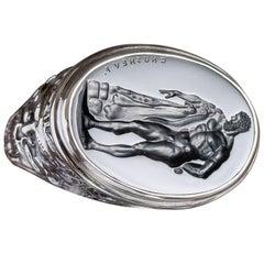 Chushev Hercules Black Onyx Intaglio Sterling Silver Signet Ring