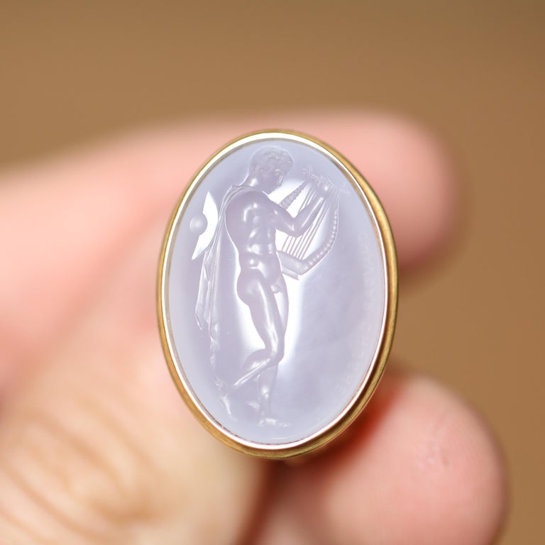 Classical Greek Chushev Hermes & Lyre Blue Chalcedony Intaglio Gold Signet Ring For Sale