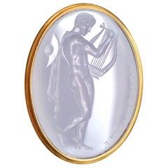 Chushev Hermes & Lyre Blue Chalcedony Intaglio Gold Signet Ring
