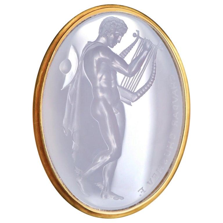 Chushev Hermes & Lyre Blue Chalcedony Intaglio Gold Signet Ring For Sale