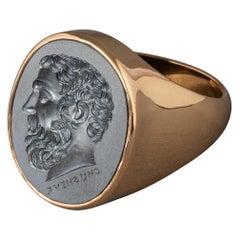 Chushev Solon Hematite Intaglio Gold Signet Ring
