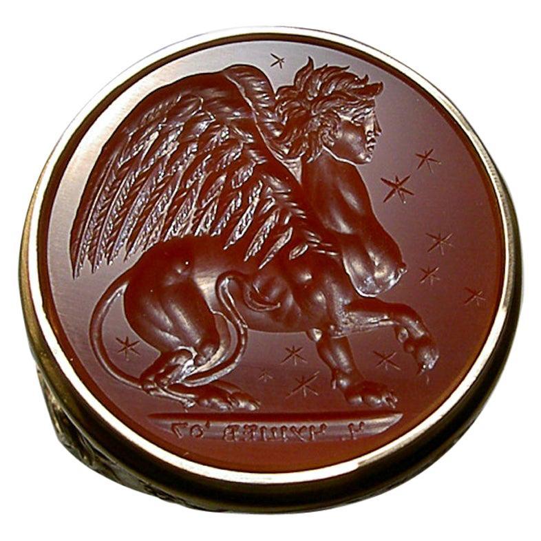 Chushev Sphinx Carnelian Intaglio Gold Signet Ring