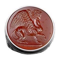 Chushev Sphinx Carnelian Intaglio Sterling Silver Signet Ring