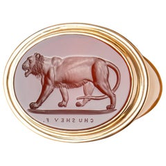 Chushev Tigress Carnelian Intaglio Gold Signet Ring
