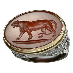 Chushev Tigress Carnelian Intaglio Sterling Silver Signet Ring
