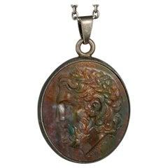 Chushev Zeus Bloodstone Intaglio Silver Pendant