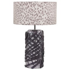Ciad.2 Table Lamp in Murano Blown Glass with Fabric Lampshade by Roberto Cavalli