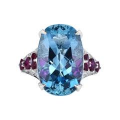 Cicada Aquamarine, Ruby and Diamond Platinum Cocktail Ring
