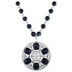 Cicada Black Tourmaline and Diamond Platinum Pendant Necklace